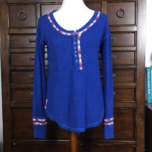 Free people blue embroidered thermal Henley Tee